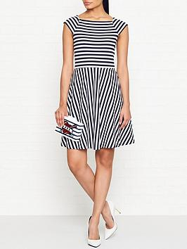 armani-exchange-striped-fit-and-flare-dress-navywhite