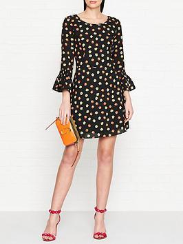 armani-exchange-printed-ruffle-sleeve-dress-black