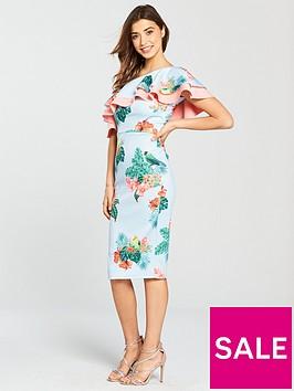 true-violet-tropical-print-one-shoulder-frill-midi-dress