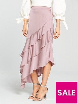true-violet-asymmetric-frill-detail-skirt-blush