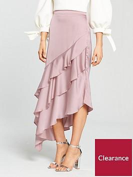 true-violet-asymmetric-frill-detail-skirt-blush