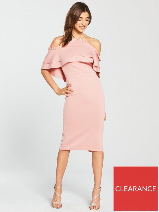2332cab80c True Violet Halter-Neck Frill Front Midi Dress - Blush