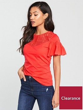 v-by-very-lace-angel-sleeve-top-coralnbsp