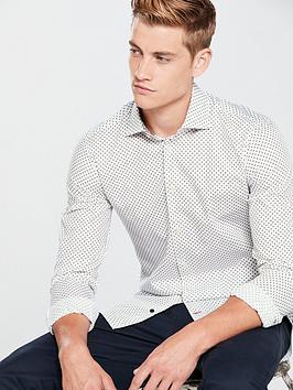 Tommy Hilfiger Tommy Hilfiger Geo Print Classic Slim Shirt, White, Size 15, Men thumbnail