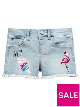 mini-v-by-very-girls-denim-flamingo-embellished-shorts--nbspbluenbspnbsp