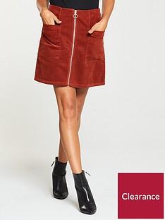 v-by-very-cord-zip-front-mini-skirt-dark-tan