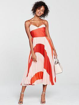 mango-pleated-midi-dress