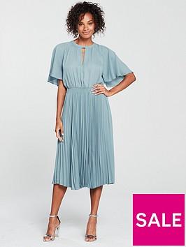 mango-pleated-skirt-dress-blue