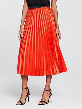 mango-metallic-pleated-midi-skirt-orange