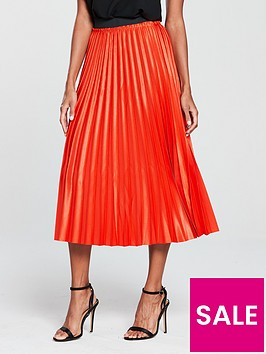 mango-metallic-pleated-midi-skirt-orange