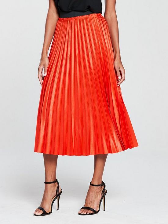 Mango Metallic Pleated Midi Skirt Orange Very Co Uk