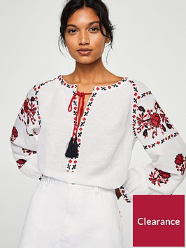 mango-embroidered-tassel-blouse-white