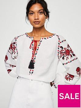 mango-embroidered-tassel-blouse
