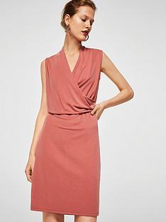 mango-drape-front-dress-coral