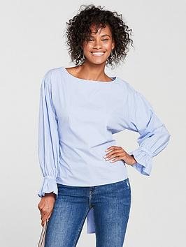 mango-stripe-bow-cotton-blouse-pale-blue