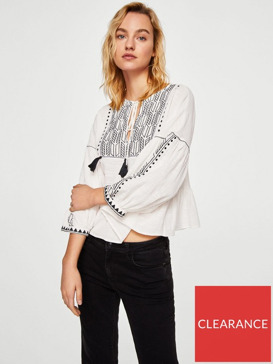1a3ee6ede988a9 Mango Embroidered Tassel Blouse - Off White