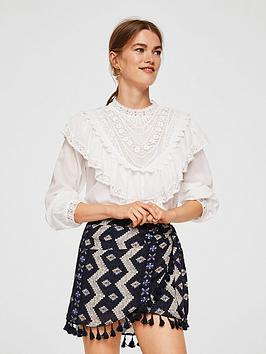mango-printed-pompom-skirt-navynbsp