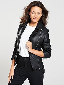 michelle-keegan-lace-up-pu-jacket-black
