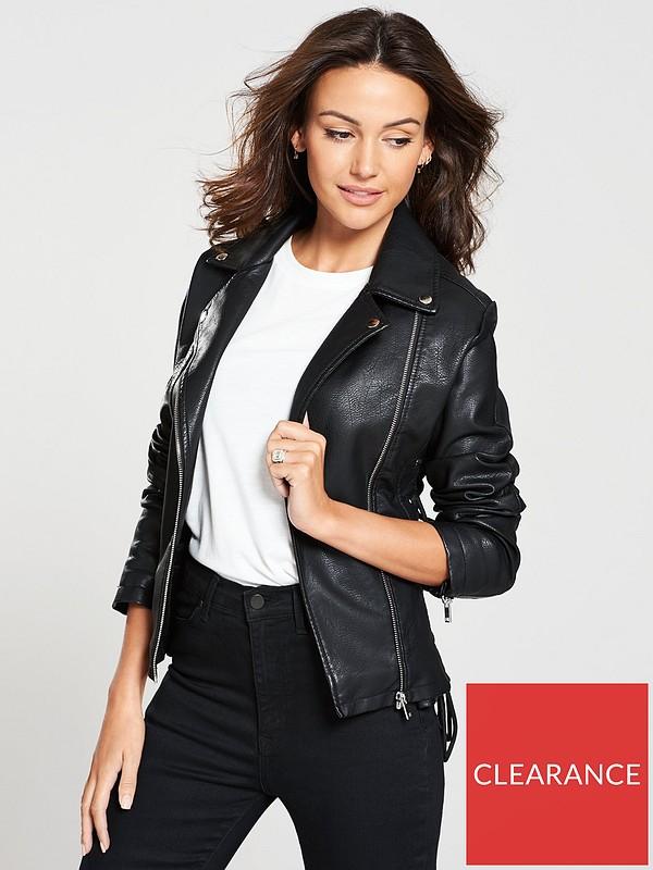 Lace Up Pu Jacket Black