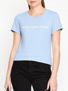 calvin-klein-institutional-logo-slim-fit-t-shirtnbsp--blue