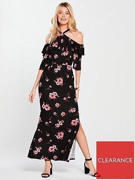 v-by-very-halter-neck-frill-maxi-dress-floral-print