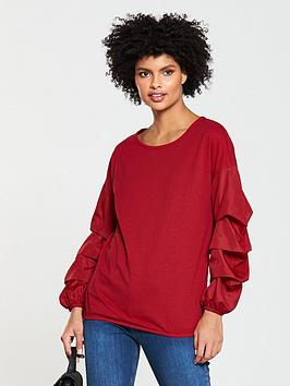 v-by-very-ruched-sleeve-woven-mix-jersey-top