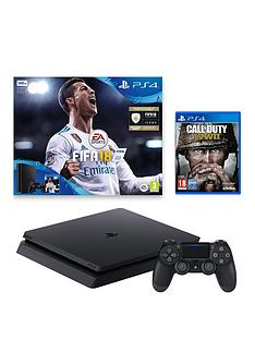 playstation-4-ps4-500gb-fifa-18-console-and-call-of-duty-wwii-and-extra-dualshock-controller