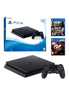 playstation-4-ps4-500gb-black-slim-console-with-call-of-duty-wwii-gran-turismo-sport-and-365-psn-subscription