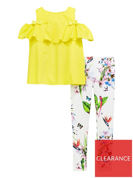 863498aa975d Baker by Ted Baker Girls Cold Shoulder Top and Legging Set - Yellow ...