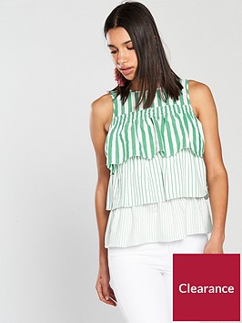 river-island-river-island-stripe-frill-layer-blouse--green