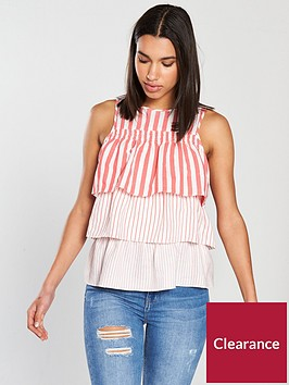 river-island-river-island-stripe-frill-layer-blouse-red