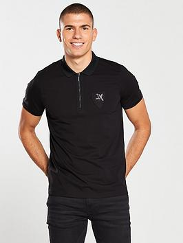 armani-exchange-zip-placket-polo-shirt