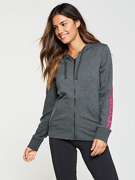 Adidas Essentials Linear Zip Through Hoodie - Dark Grey Heather