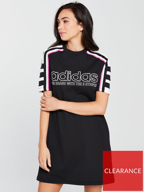 90ef7b46c1c adidas Originals AA-42 Linear Tee Dress - Black | very.co.uk