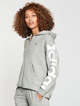 Adidas Feminine Zip Through Hoodie - Medium Grey Heather