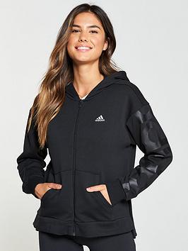 Adidas Feminine Zip Through Hoodie - Black