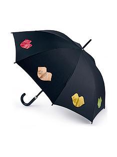 lulu-guinness-kensington-rainbow-lips-umbrella-black