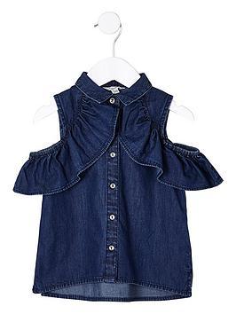 river-island-mini-girls-cold-shoulder-frill-denim-shirt