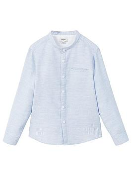 Mango Boys Grandad Collar Long Sleeve Shirt, Light Blue, Size 4-5 Years thumbnail
