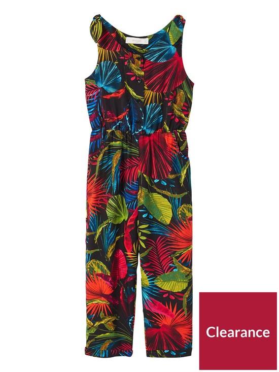 e083c49390 Mango Girls Floral Jumpsuit - Black