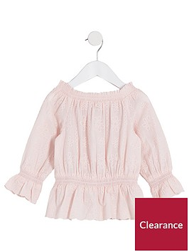 river-island-mini-girls-pink-broiderie-bardot-top