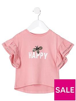 river-island-mini-girls-coral-lsquohappyrsquo-frill-sleeve-t-shirt