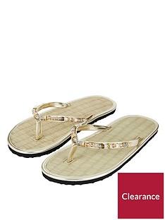 500a76a8731e96 Accessorize Memphis Metallic Bead Seagrass Flip Flop Sandal - Gold
