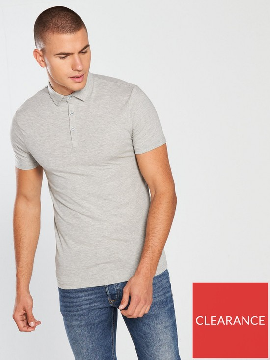 240d313f7c River Island Grey essential muscle fit polo shirt
