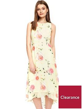 wallis-petite-citrus-rose-high-low-hem-dress-lemon