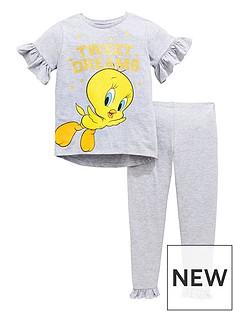 character-girls-glitter-print-tweety-frill-pyjamas-set