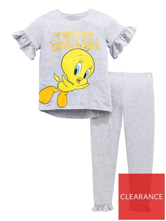 3faa563ac4 Tweety Pie Girls Glitter Print Tweety Frill Pyjamas Set