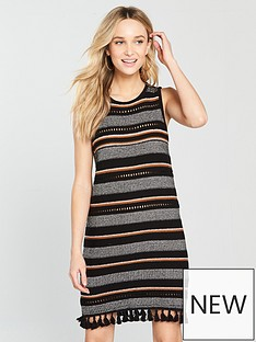 river-island-river-island-stripe-tassle-hem-knitted-dress--black