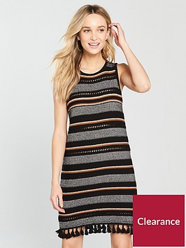 river-island-stripe-tasselnbsphem-knitted-dress-black