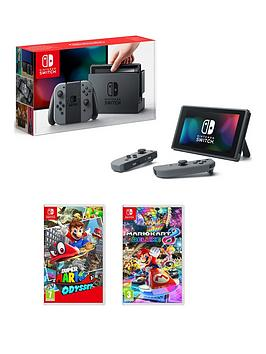 nintendo-switch-grey-console-with-super-mario-odyssey-and-mario-kart-8